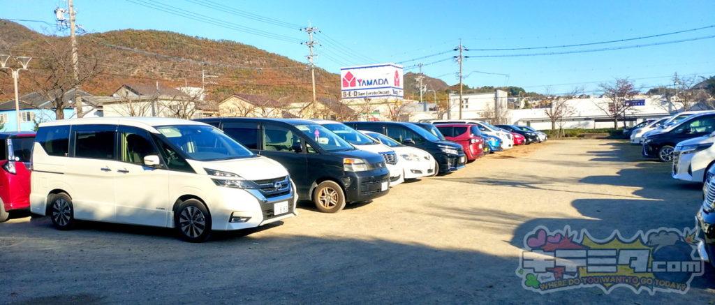 長良公園には駐車場が2つ、一つが砂利側