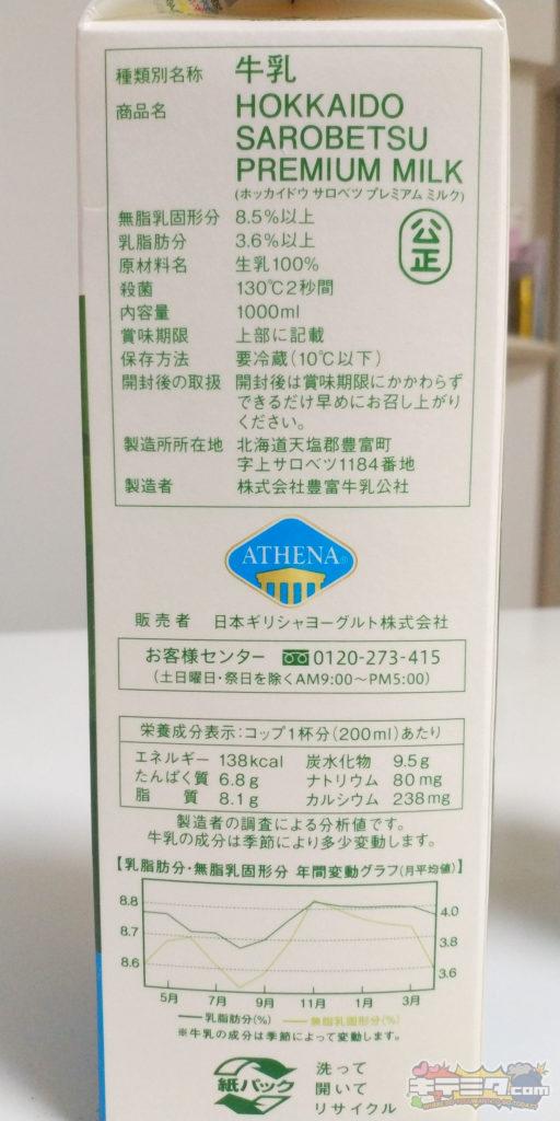 コストコの牛乳の栄養成分表示